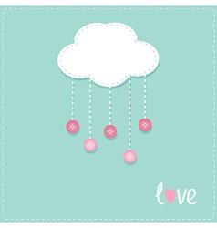 Cloud hanging rain button drops dash line love vector