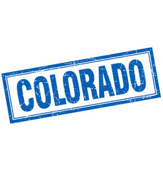 Colorado blue square grunge stamp on white vector