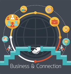 Connection concept shake hands business icons vector