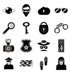 Crime icons set simple style vector
