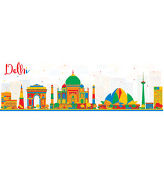 delhi india skyline with color buildings vector image