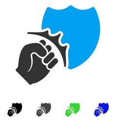 Fist strike shield flat icon vector
