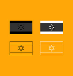 flag of israel set black and white icon vector image vector image