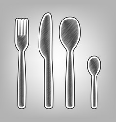 Fork spoon and knife sign pencil sketch vector