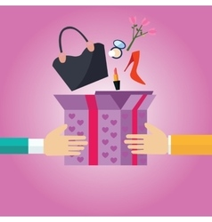 gift present box open to girls female stuff hand vector image