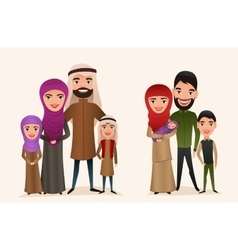Happy arab family with children set vector image