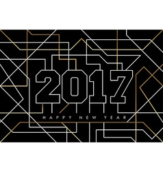 Happy new year 2017 gold line art greeting card vector