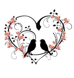Heart with birds and flourishes vector