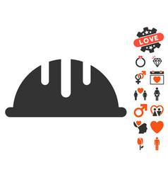 Helmet icon with valentine bonus vector