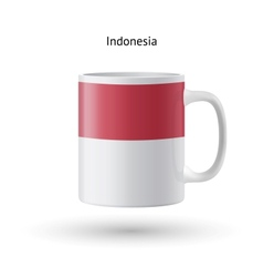 Indonesia flag souvenir mug on white background vector