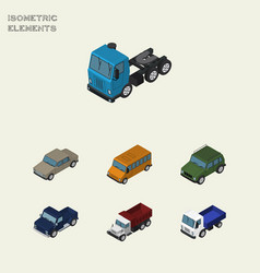 Isometric transport set of armored freight vector