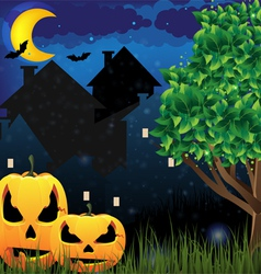 Jack oLanterns and night city vector image