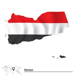 Map of Yemen with flag vector image