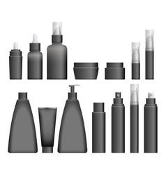 realistic black cosmetics bottles vector image vector image