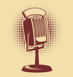 Retro microphone on vintage background design vector