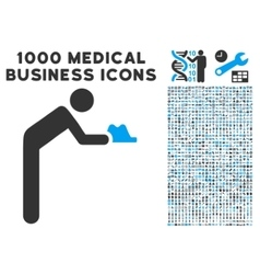 Servant icon with 1000 medical business pictograms vector