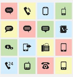 Set of 16 editable communication icons includes vector