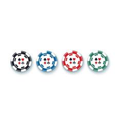 Set of four gambling casino poker chips vector