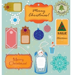 Set of labels for Christmas and New Year vector image vector image