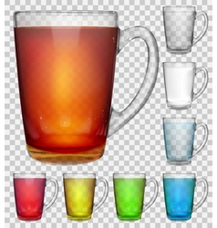 Set of transparent glass cups vector