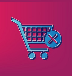 Shopping cart with delete sign blue 3d vector