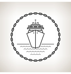 Silhouette cruise ship on a light background vector