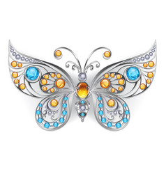 Silver butterfly with amber vector