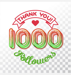Thank you 1000 followers vector