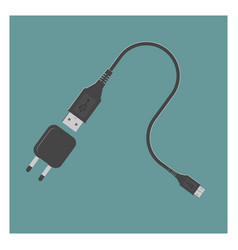 usb cable and power adapter vector image