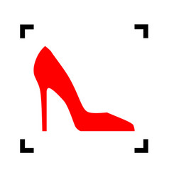 woman shoe sign red icon inside black vector image vector image
