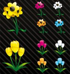 glossy flowers web 2 style vector image