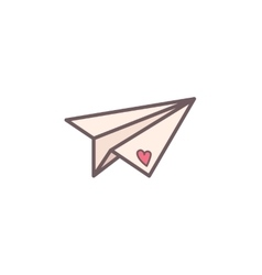 Paper plane decorated with heart vector image