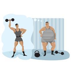 Retro weightlifter vector