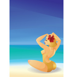 Pinup curvy blonde girl on ocean shore decorates vector