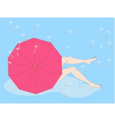 Girl sitting on a cloud vector
