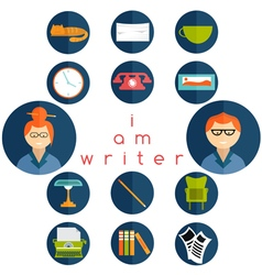 Flat design writer web icons set vector