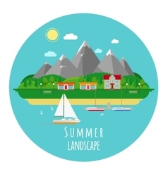 Flat summer landscape with mountains vector