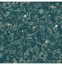 Seamless dark pattern with traditional christmas vector