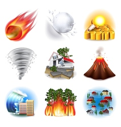 Natural disasters icons set vector