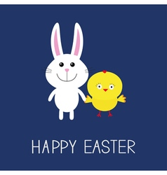Happy easter cute bunny rabbit and chicken round vector