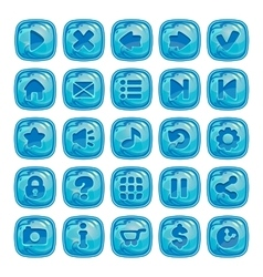 Cartoon blue square buttons vector