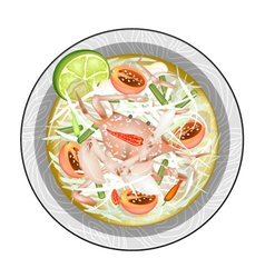 Green papaya salad with fermented blue crabs vector