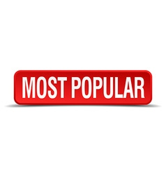 Most popular red 3d square button isolated on vector
