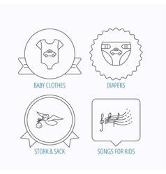 Diapers newborn clothes and songs for kids vector