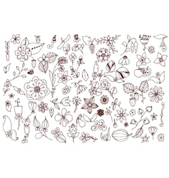 Set of black and white doodle flowers leaves hand vector