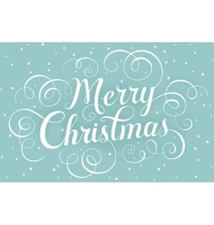 White lettering merry christmas for greeting card vector