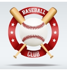 Baseball ball and wooden bats with ribbons vector