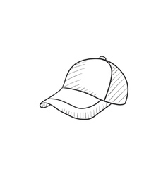Baseball hat sketch icon vector image