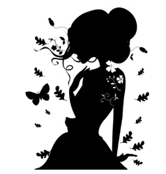 Beauty Girl Silhouette with Leaf Beautiful woman vector image vector image