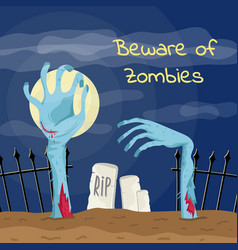 beware of zombies poster with zombies hands vector image vector image
